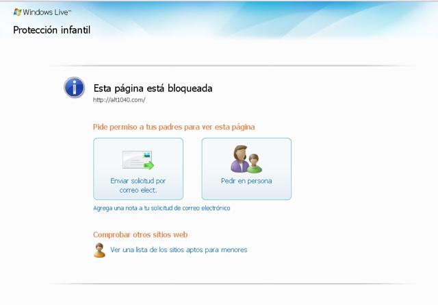 Windows Live Protección Infantil
