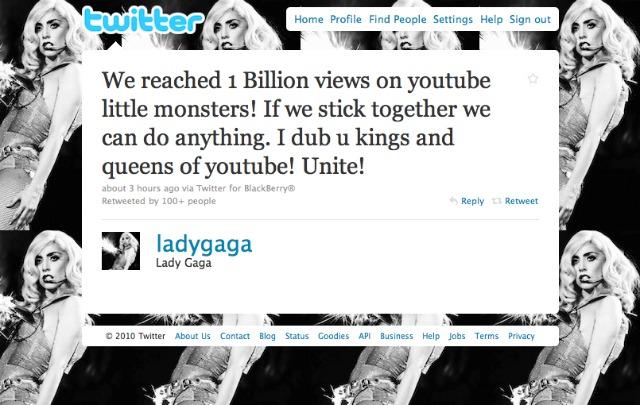 Lady Gaga mil millones en YouTube