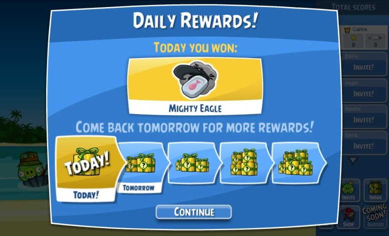 Angry Birds recompensas