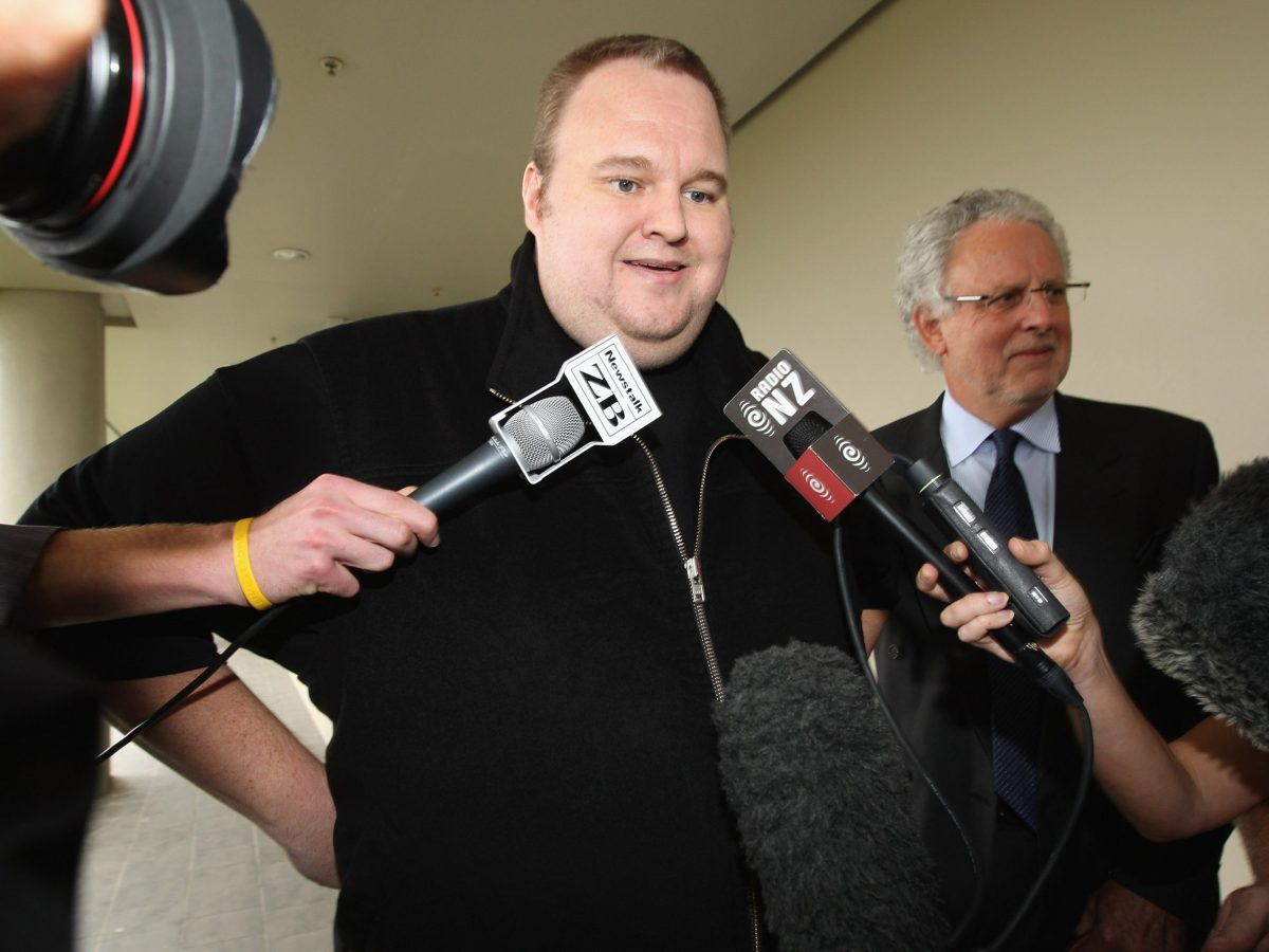 at North Shore District Court on February 22, 2012 in Auckland, New Zealand. The megaupload.com founder, and four associates were arrested last month accused of internet piracy by US authorities.
