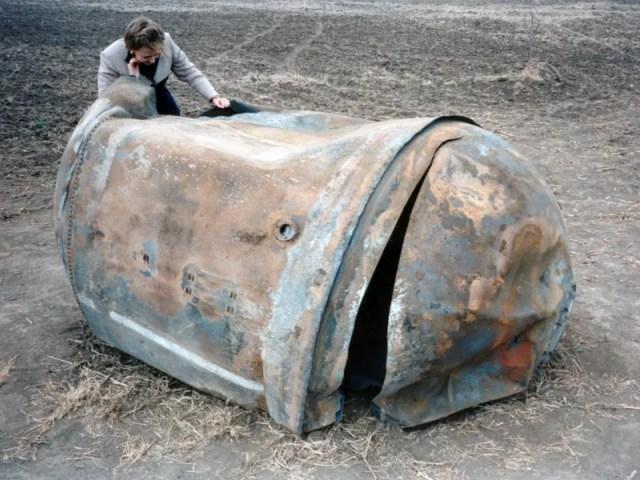 Tanque de combustible recuperado por NASA en Texas.