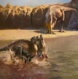 """Ilustración del dinosaurio """"Sauron"""""""