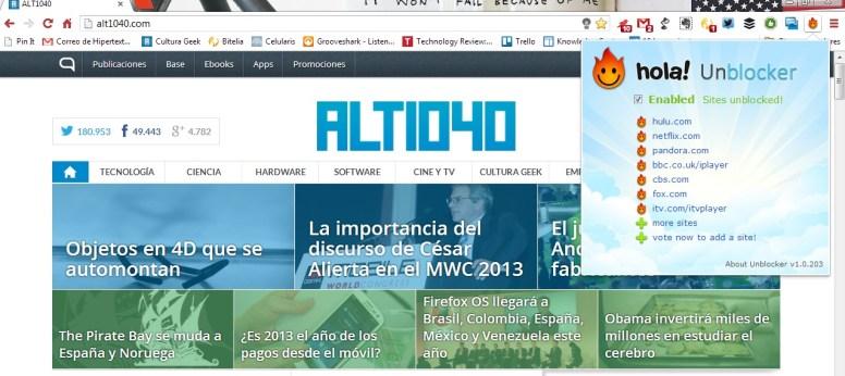 Hola Extensión Chrome