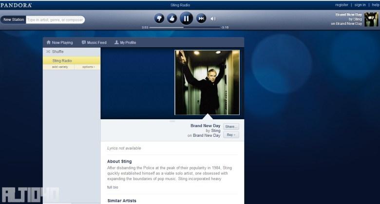 Pandora usando Hola.org