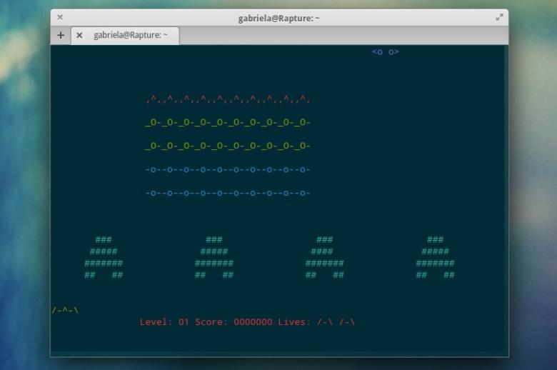 ninvanders juegos en la terminal de linux