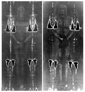 A la izquierda la sábana santa original, a la derecha reproducción hecha por Garlaschelli