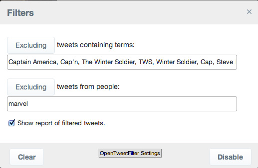 Twitter-filters