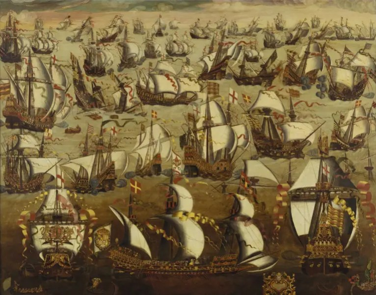 «La Armada Invencible» por English School, Siglo XVI - http://www.nmm.ac.uk/collections/explore/object.cfm?ID=BHC0262. Disponible bajo la licencia Public domain vía Wikimedia Commons.