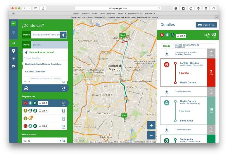 Versión web de Citymapper