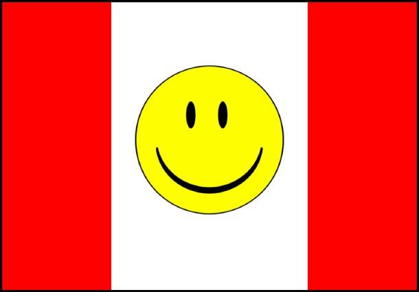 La bandera del Imperio: la bandera canadiense con una cara sonriente. <a href=