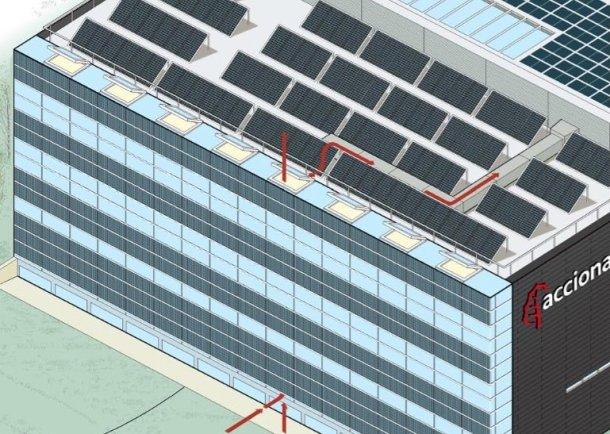 "Fachada sur. Edificio cero emisiones ([Acciona Energía](http://www.acciona-energia.es ""Acciona Energía""))"