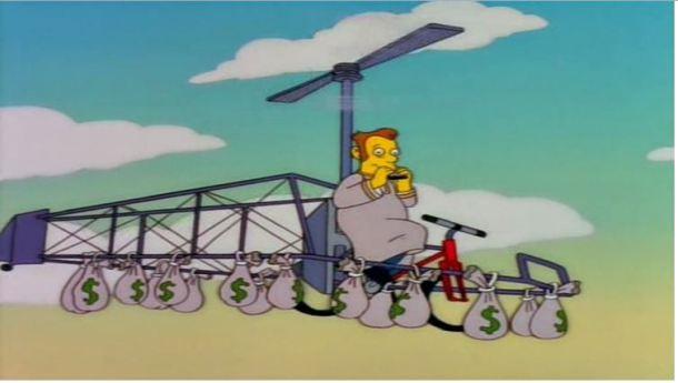 Aquí tenemos una acertada representación de un miembro de una cadena televisiva en su medio de transporte habitual.