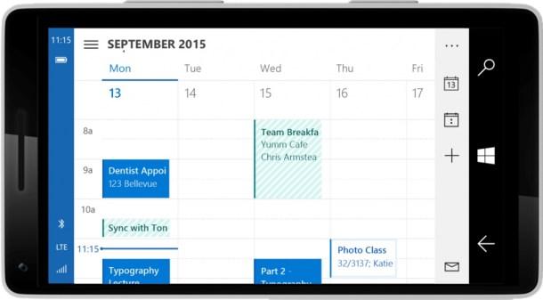 Outlook calendar apaisado