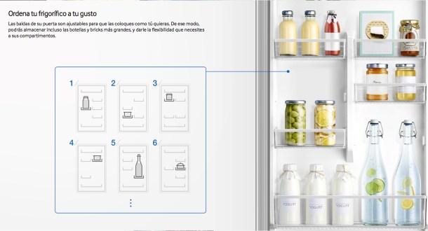 Configuración de las baldas de una nevera Samsung.