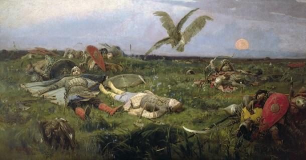 """""""El campo de batalla de Ígor Sviatoslávich contra los pólovtsy"""", de Víktor Vasnetsov."""