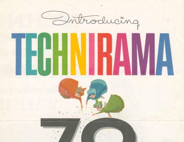 Fragmento de un cartel promocional del nuevo sistema Technirama. ¿Reconocéis a los tres personajes? Fuente: GeorgeEastmanHouse