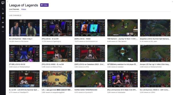 Interfaz de Twitch.