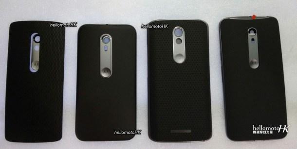 De izquierda a derecha según la filtración: DROID mini, Moto G (3rd Gen), DROID, Moto X (3rd Gen)