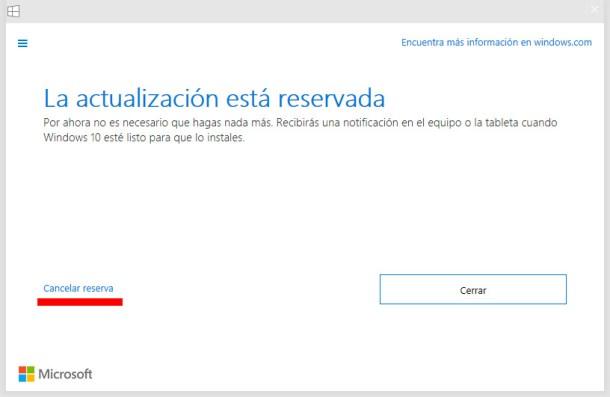 cancelar la actualización a Windows 10