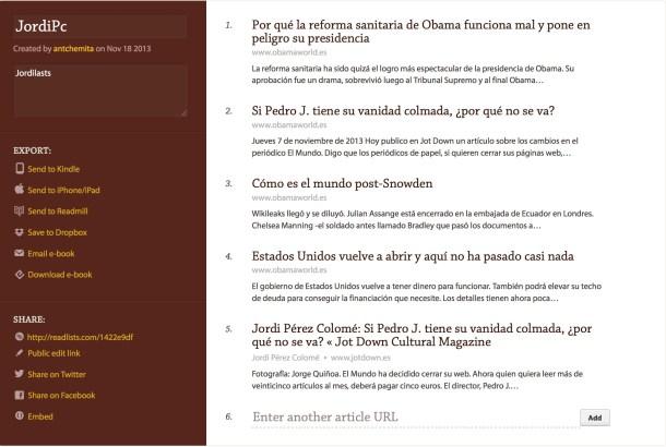 Así luce una lista de Readlists.