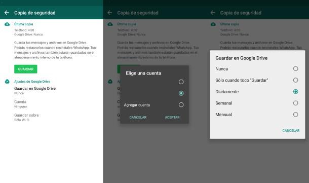 Así es la interfaz de copia de seguridad de WhatsApp.