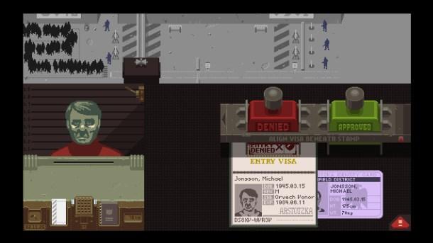 """Captura de """"Papers, Please"""" un juego desarrollado desde Steam Greenligth"""