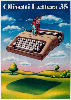 Antiguo cartel promocional del modelo Lettera 35. Fuente: StoriaOlivetti