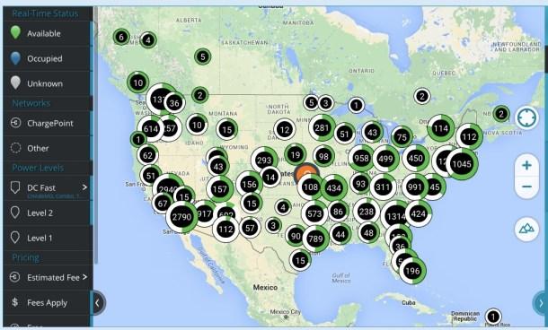 Estaciones ChargeNow en Estados Unidos