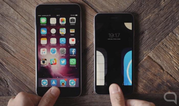 A la izquierda, el nuevo Touch ID. A la derecha, el anterior. Cuando uno ya está en la pantalla de inicio, el otro comienza a desbloquearse.
