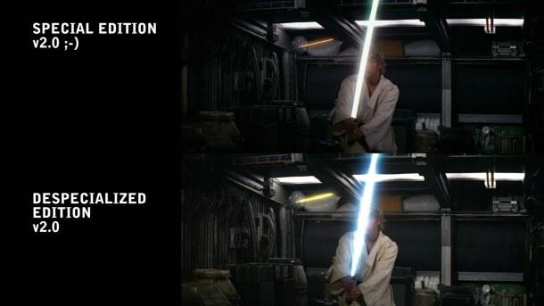 Muestra de la mejora de calidad en Star Wars Trilogy Despecialized Edition