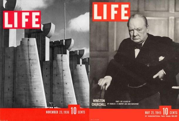 Izquierda:  número de lanzamiento. Foto: Margaret Bourke-White Derecha: edición del 21 de mayo de 1945. Foto: Yousuf Karsh