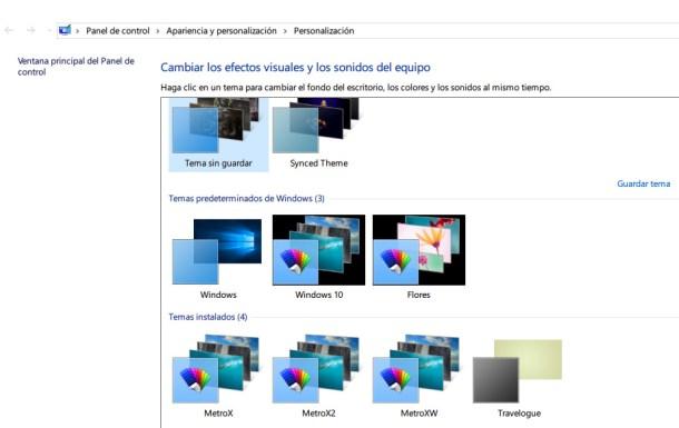 instalar temas en Windows 10