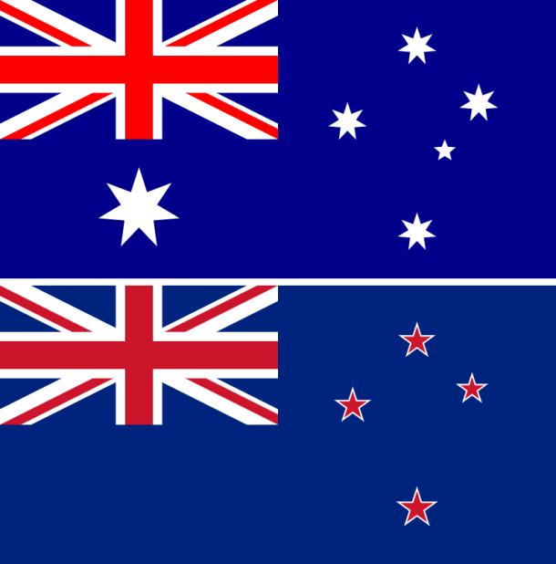 La actual bandera de Nueva Zelanda (inferior) es muy similar a la de Australia (superior), uno de los principales puntos esgrimidos a favor del cambio.