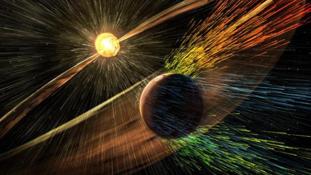 Ilustración que representa una tormenta solar contra Marte. Reuters | NASA | Goddard Space Flight Center