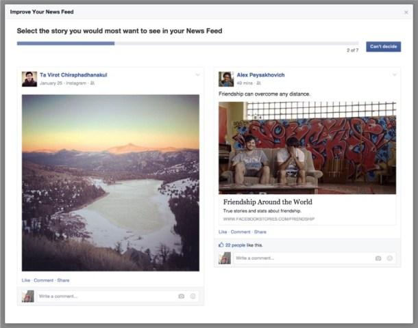 Ejemplo de encuesta en Facebook para seleccionar contenido interesante.