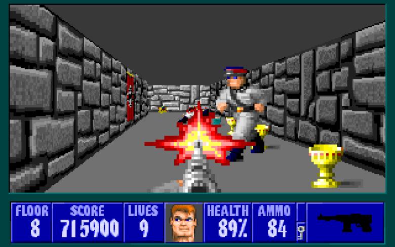 Wolfstein 3D, 1992. Su jugabilidad, gráficos y perspectiva en primera persona entusiasmaron a todos los poseedores de un ordenador personal.
