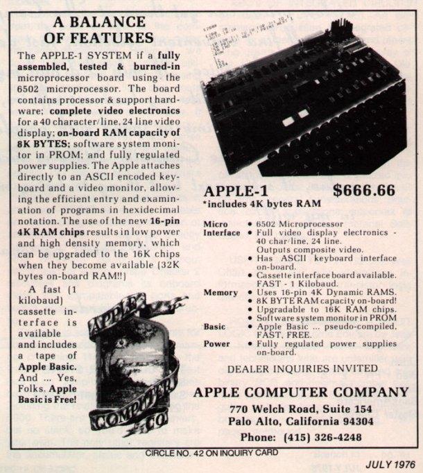 Apple I 1976