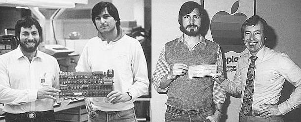A la izquierda, Steve Wozniak y Steve Jobs posan junto a la placa base del Apple II. A la derecha, Steve Jobs posa con el cheque de Mike Markkula que haría posible todo.