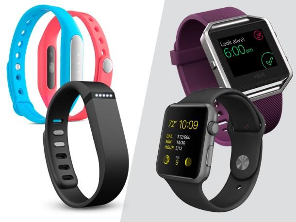 Izquierda. Fitbit Flex cuesta 3-4x más que la Xiaomi Mi Band. — Derecha: Apple Watch de 38mm y Fitbit Blaze, de precio similar.