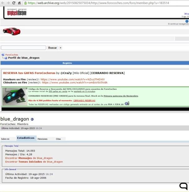 Captura del perfil de blue_dragon antes de que el administrador de Forocoches se apropiara de la cuenta para fines publicitarios. / Webarchive