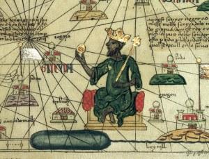 Musa representado sosteniendo una pepita de oro en el Atlas Catalán de 1375.