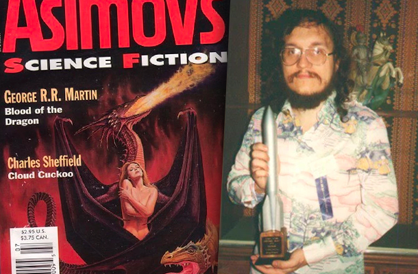 La portada de Asimov's de julio de 1996, y George R. R. Martin recogiendo el premio Hugo a mejor novela corta en 1997 por Blood of the Dragon.