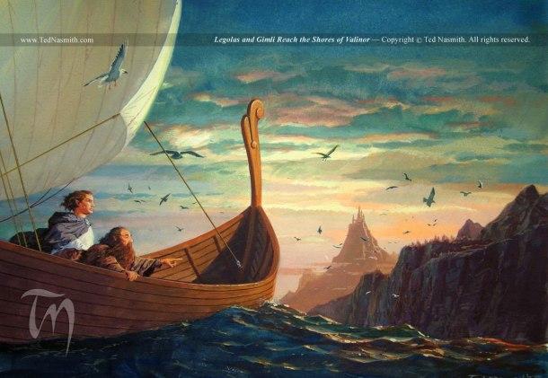 Legolas y Gimli llegando a las costas de Valinor