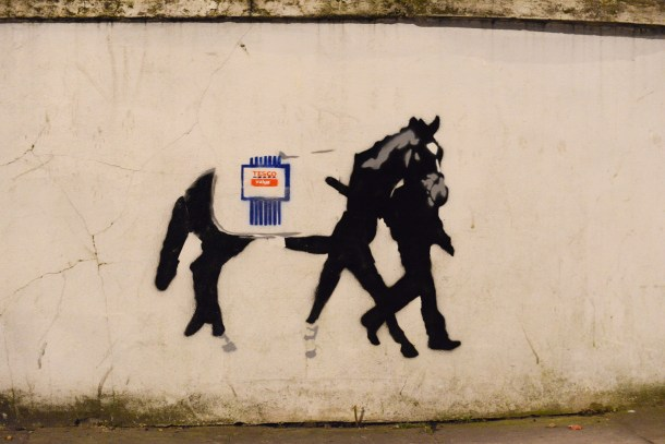 Horse meat  inspired street art hits North London.