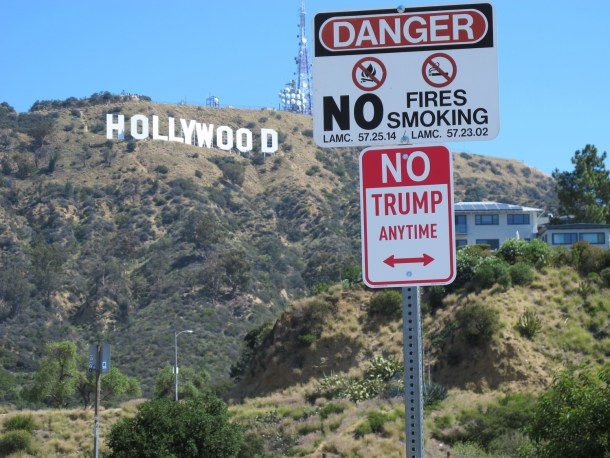 """"""" No Trump"""" signs appear in cities across the USA."""