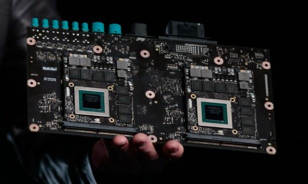 Nvidia Drive PX2. El ordenador central capaz de analizar todos los datos de los sensores y ejecutar los algoritmos.