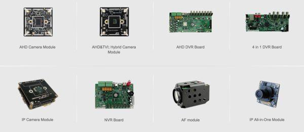 Algunos componentes vendidos por Xiongmai Technology