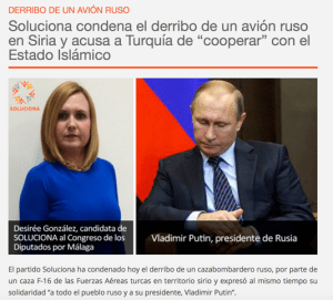 La candidata al Congreso de Soluciona junto a Putin en la página del partido.