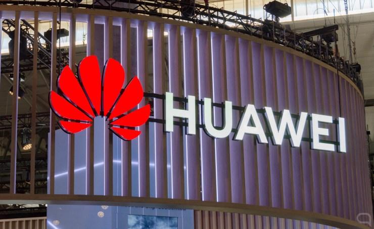 Logo de Huawei en el MWC 2019, Barcelona.