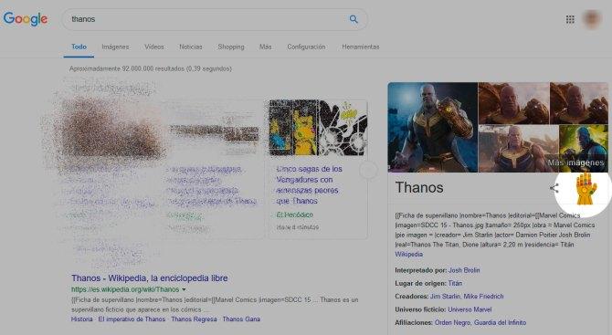 Guantelete de Thanos en Google